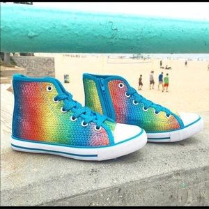 Other - Rainbow metallic high top sneakers